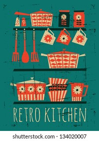 Poster with kitchen items in retro style.
