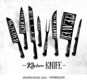 Poster kitchen meat cutting knifes butcher, french, bread, paring, fork, boning, cleaver, filleting drawing in vintage style on dirty paper background