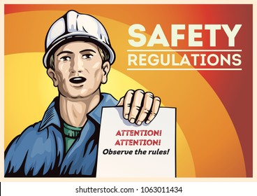 Poster with labor people, holding in her hand with leaflet leaflet with instructions. Vector illustration.