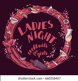 poster for lady's night party with glamour cocktails, vector illustration