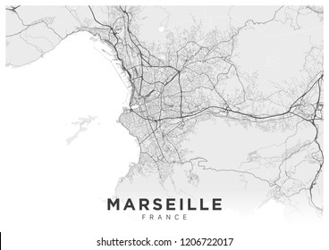 Poster (landscape orientation) with a map of Marseille city. Detailed road map of Marseille (France). Black and white illustration of transport system of the city of Marseille. Streets of Marseille.