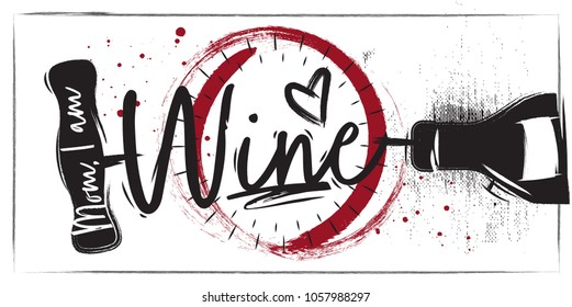 A poster with lettering on a bottle of wine and a corkscrew. White background