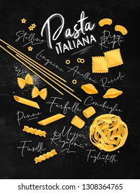Poster lettering pasta italiana with many kinds of macaroni drawing on chalkboard background.