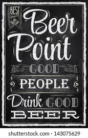 Poster lettering people drink good beer drawing with chalk chalkboard background