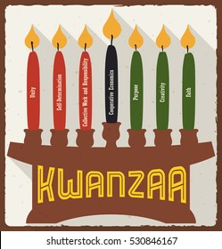 Poster with lighted and marked candles placed on a kinara with each principle for kwanzaa celebration in flat style and long shadow.