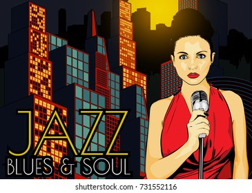 Poster with lights big night city, woman singer and moon. Red dress on woman. Retro microphone. Jazz, soul and blues live music party.
