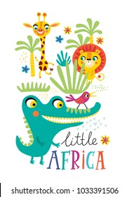 Poster with little African animals for children's room decoration on a white background.