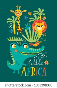 Poster with little African animals for children's room decoration on a green, background.