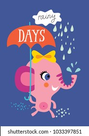 Poster with little elephant for children's room decoration on a blue background.