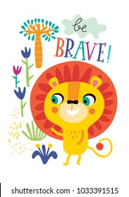 Poster with little lion for children's room decoration on a white background.