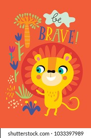 Poster with little lion for children's room decoration on an orange background.