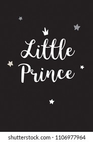 Poster little prince black white kids room decor decoration boy star