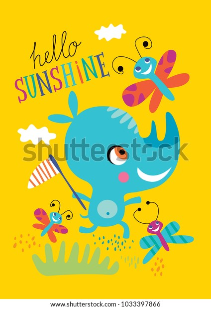 Poster Little Rhino Childrens Room Decoration Stock Vector