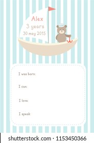 "Poster with ""little seaman"" design. Can be used for baby shower, birhday party"