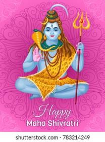 Poster Lord Shiva. Holiday  Maha Shivratri. Vector illustration.