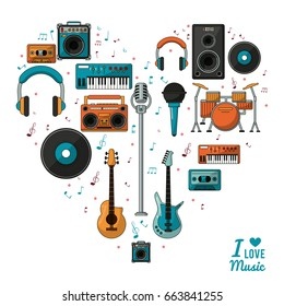 poster i love music with colorful silhouette of musical instruments and playback devices