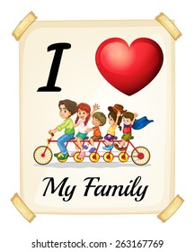 Poster I love my family on white background