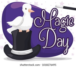 Poster for Magic Day with a cute white dove over top hat ready to perform a magic trick on purple sign and starry background.