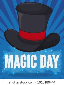 Poster with magic hat floating in the air with some magic dust and sparkling text for Magic Day celebration.