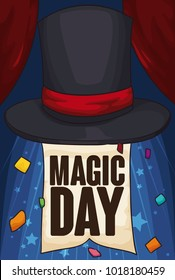 Poster with magician top hat over a stage with open curtains, appearing a greeting sign and confetti for Magic Day celebration.