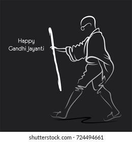Poster of Mahatma Gandhi walking, 2nd october Gandhi Jayanti illustration design