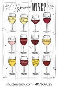 Poster main types of wine sparkling, sauvignon blanc, pinot noir, merlot, rose, zinfandel, bordeaux, chardonnay, viognier, cabernet, burgundy drawing on wood background.