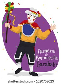 "Poster with man disguised as traditional ""Garabato"" character, holding a wand and celebrating Barranquilla's Carnival (written in Spanish) under a confetti shower."
