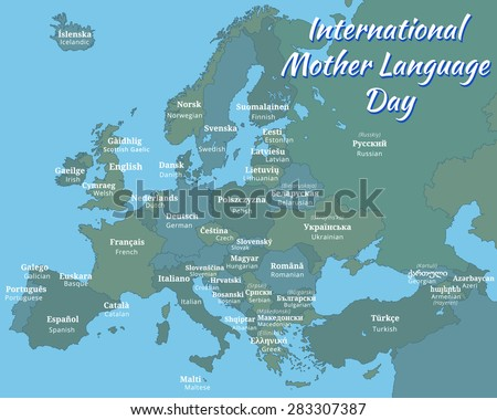 Poster Map Europe International Mother Language Stock Vector