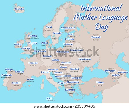 Poster Map Europe International Mother Language Stock Vector