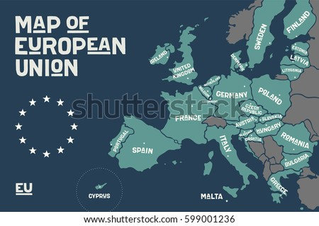 Poster Map European Union Country Names Stock Vector (Royalty Free ...
