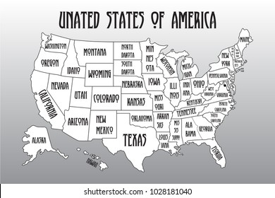 vector illustration poster map of united states of america with state names black and white print map