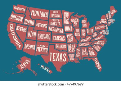 Poster Map United States America State Stock Vector Royalty Free