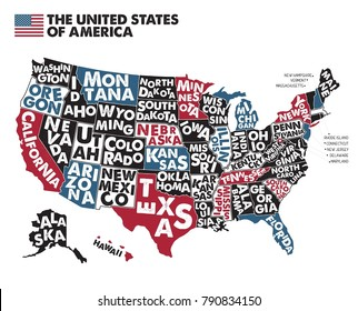 Poster map of United States of America with state names. Black,Red, Blue and White print map of USA for t-shirt, poster or geographic themes. Hand-drawn black map with states. Vector Illustration