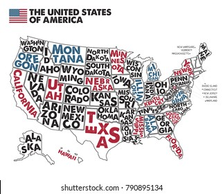 Poster map of United States of America with state names. Black,Red, Blue and White print map of USA for t-shirt, poster or geographic themes. Hand-drawn black map with states. Vector Illustration.