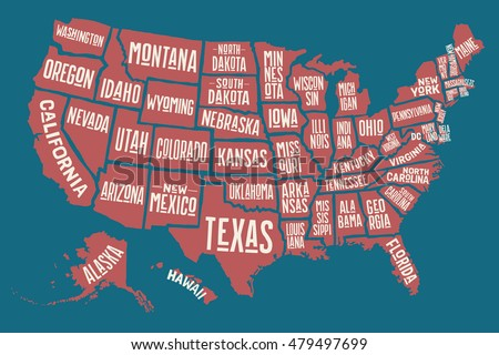 Pictures Of The United States Of America Map.Poster Map United States America State Stock Vector Royalty Free