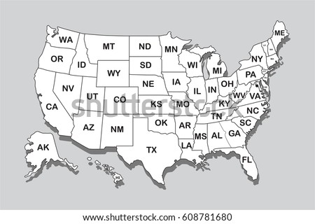 Poster Map United States America State Stock Vector (Royalty Free ...