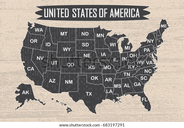 Poster Map United States America State Stock Vector (Royalty ...