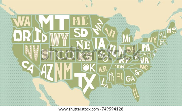 Poster Map United States America State Stock Vector (Royalty ... on full state names, u s map with state names, us state map with state names, usa state map state names, united states road map with state names, canada map with province names, 50 states map with names, united states map with city names, color us map with names, united states map without names, blank united states map with state names, united states map with no names, map of world with state names, map of usa with state names, the united states map with capitals and names, map of us states with state abbreviations, north america map with state names,