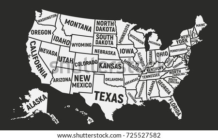 Poster Map USA State Names United Stock Vector (Royalty Free ...