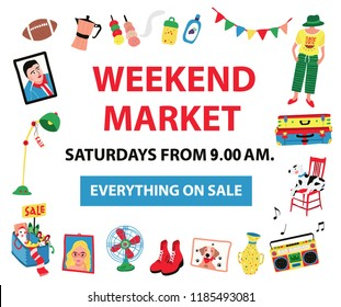 The poster for market fair like night market, weekend market, or flea market, colorful doodle style on white background, illustration, vector