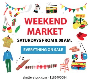 The poster for market fair like weekend market,flea market,night market, all colorful doodle style on white background, illustration, vector