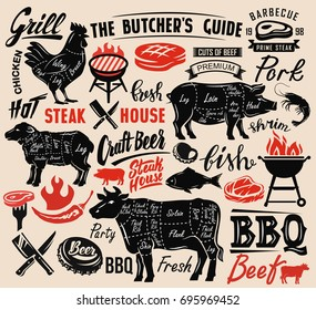 Poster meat steak house with scheme lettering
