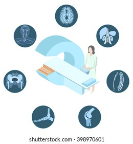 Poster with the medical concept of magnetic resonance imaging examination. Doctor stand near the MRI imager. Around there are images of the human body.