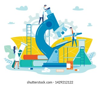 Poster Medical Smart Laboratory Cartoon Flat. Close Up Microscope and Books. Small People in White Coats Work with Pharmaceutical Preparations. Medical Equipment. Vector Illustration.