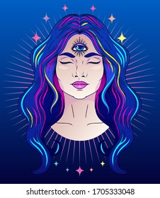Poster with meditative woman with third eye, can be used for meditation or female sacral practice, neon lights colors, vector illustration