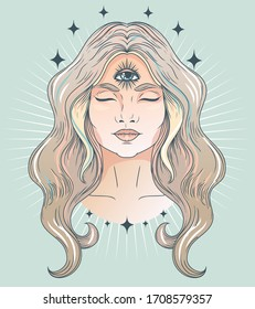 Poster with meditative woman with third eye, can be used for meditation or female sacral practice, tender pastel palette, vector illustration