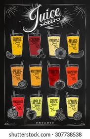 Poster menu with glasses of different juices drawing with chalk on the blackboard