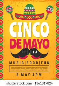 Poster of mexican fiesta. Design template of party invitation