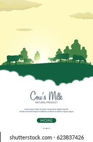 Poster Milk natural product. Rural landscape with mill and cows. Dawn in the village