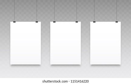 Poster mockups hanging. Vector blank empty white poster or photo frames templates isolated on transparent background